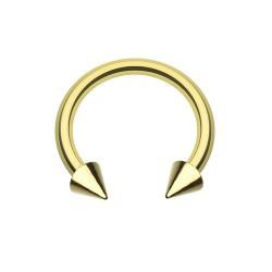Fer à Cheval Acier Plaqué-Or spike - 10mm