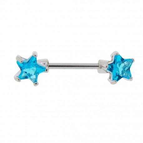 Piercing Téton étoiles turquoises griffées