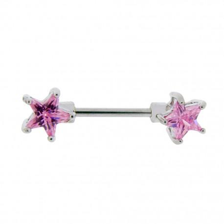 Piercing Téton étoiles roses griffées
