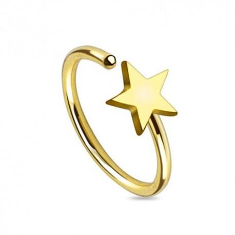 Piercing Nez Plaqué-Or Anneau étoile