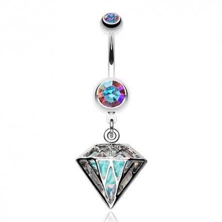 Piercing Nombril Acier cage de diamant