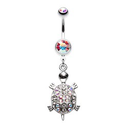 Piercing Nombril Pendant tortue de strass