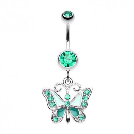 Piercing Nombril Pendant papillon vert