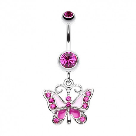 Piercing Nombril Pendant papillon fushia