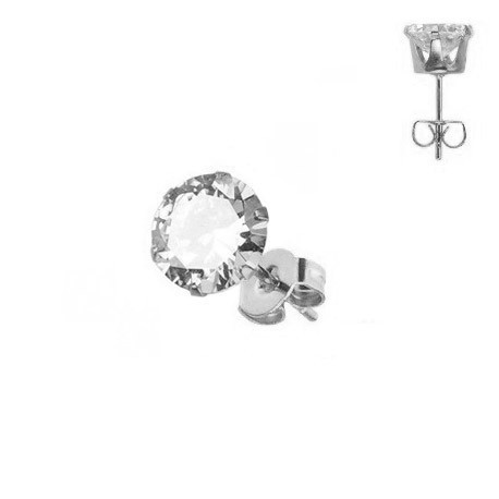 Boucle d'Oreille Strass rond 7mm.
