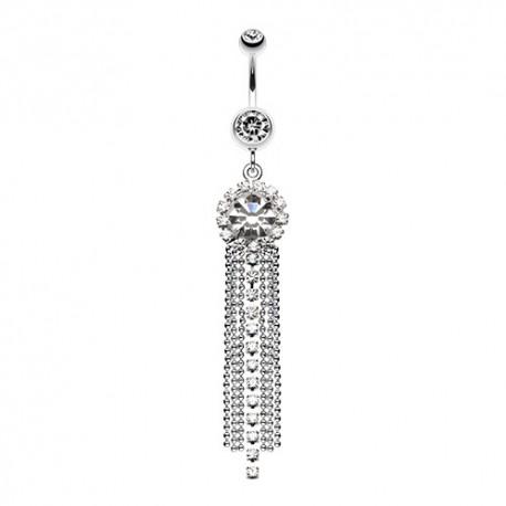 Piercing Nombril Pendentif chandelier et chaînettes