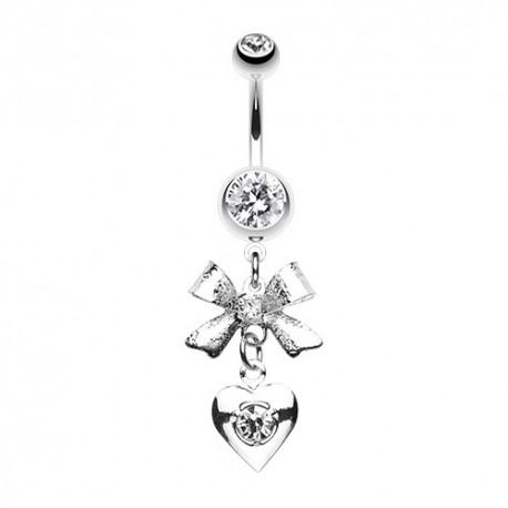 Piercing Nombril pierres griffées noeud et coeur
