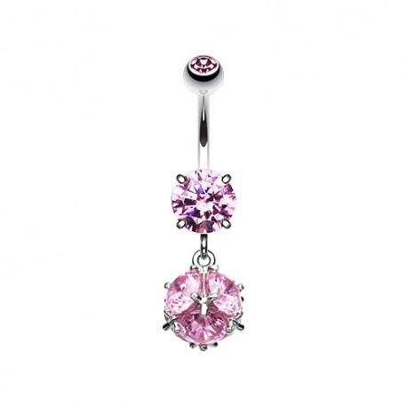 Piercing Nombril Pendentif cube de Cristal rose