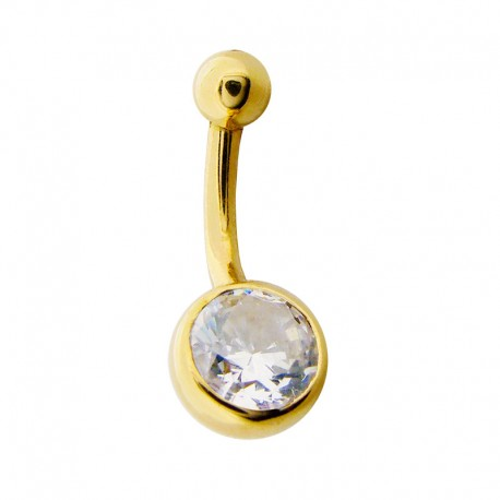 Piercing Nombril Or 18K et Cristal clos