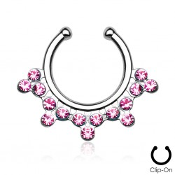 Faux Piercing Septum Strass rose
