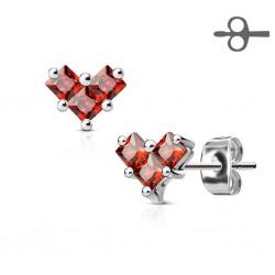 Boucle d'oreille coeur pierres rouges