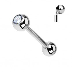 Piercing Langue Titane Pierre blanche 5mm - interne