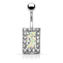 Piercing Nombril rectangle imitation Opale blanche
