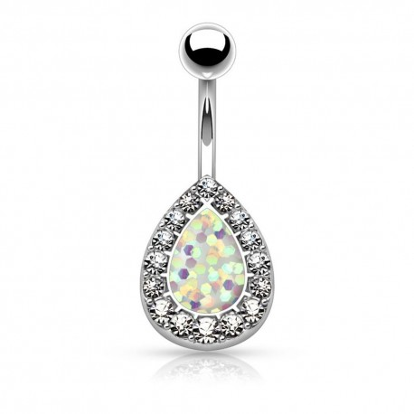 Piercing Nombril poire imitation Opale blanche