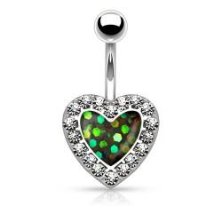 Piercing Nombril coeur imitation Opale verte