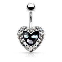 Piercing Nombril coeur imitation Nacre