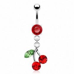Piercing Nombril pierre griffée pendentif cerise rouge