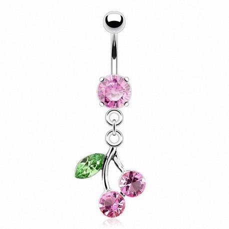 Piercing Nombril pierre griffée pendentif cerise rose