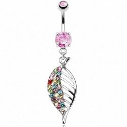 Piercing Nombril pierre griffée rose pendentif feuille multicouleur