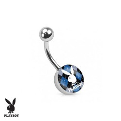 Piercing Nombril logo Playboy® carreau noir et bleu