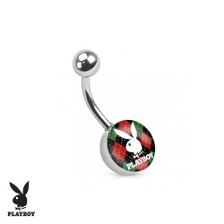 Piercing Nombril logo Playboy® carreau rouge et vert