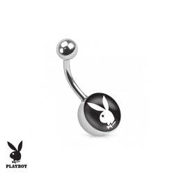 Piercing Nombril logo Playboy® noir et blanc