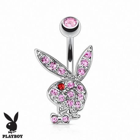 Piercing Nombril Playboy® lapin rose oeil rouge