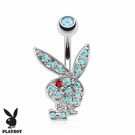 Piercing Nombril Playboy® lapin bleu oeil rouge