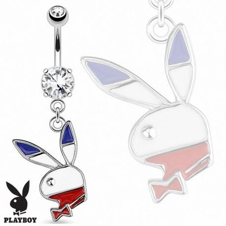 Piercing Nombril Playboy® pierre griffée pendentif lapin bleu, blanc, rouge
