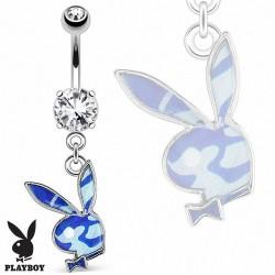 Piercing Nombril Playboy® pierre griffée pendentif lapin camouflage bleu
