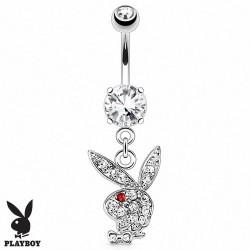 Piercing Nombril Playboy® pierre griffée pendentif lapin oeil rouge
