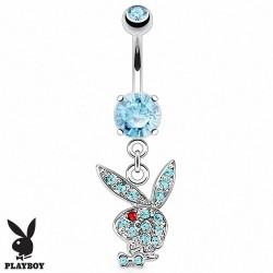 Piercing Nombril Playboy® pierre bleue griffée pendentif lapin bleu oeil rouge