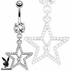 Piercing Nombril Playboy® pendentif étoile pavée de cristaux