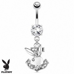 Piercing Nombril Playboy® pendentif ancre marine et lapin cristaux blancs