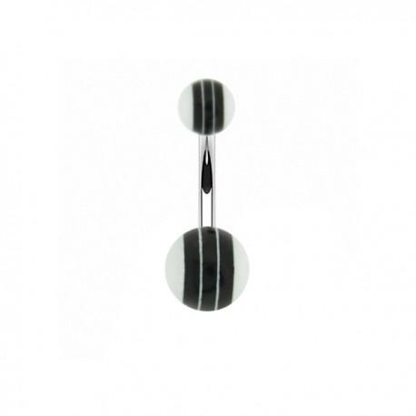 Piercing Nombril Acrylique rayé noir