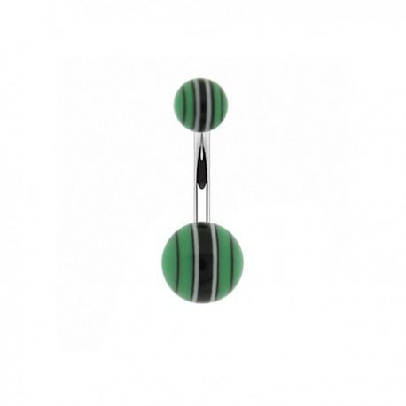 Piercing Nombril Acrylique rayé vert