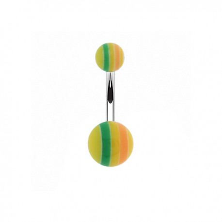 Piercing Nombril Acrylique rayé jaune