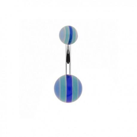 Piercing Nombril Acrylique rayé bleu