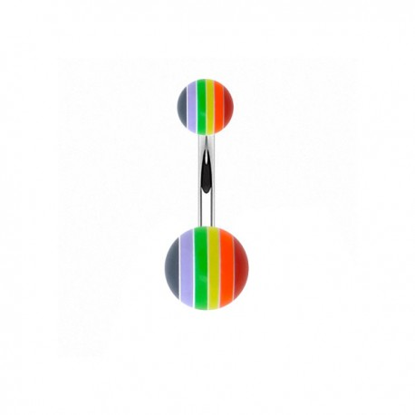 Piercing Nombril Acrylique rayé multicolor