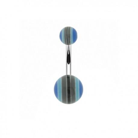Piercing Nombril Acrylique rayé bleu et gris