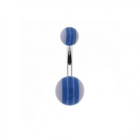 Piercing Nombril Acrylique rayé bleu et mauve