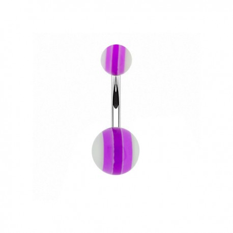 Piercing Nombril Acrylique rayé violet