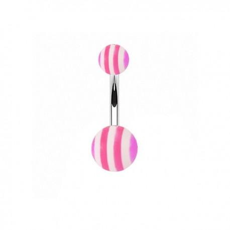 Piercing Nombril Acrylique rayé violet et rose
