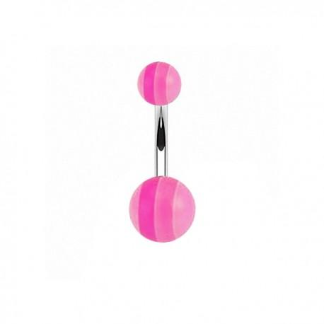 Piercing Nombril Acrylique rayé rose
