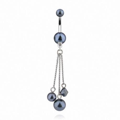 Piercing Nombril Acrylique perle grise et pendent