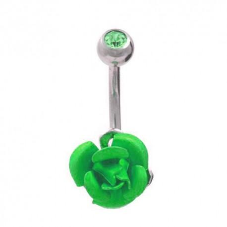 Piercing Nombril Acier rose verte et cristal vert