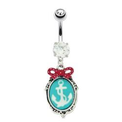 Piercing Nombril cristal griffée pendentif camée ancre marine et noeud