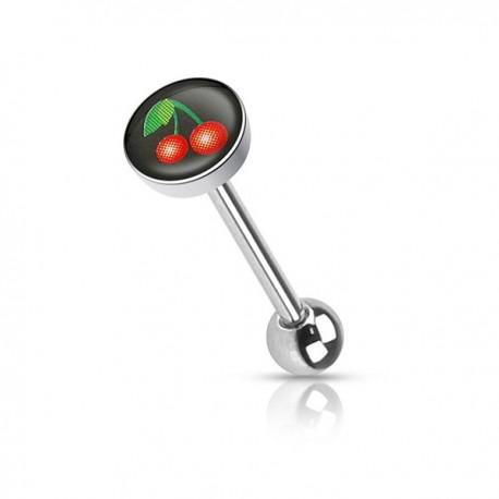 Piercing Langue logo cerises noir