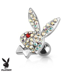 Piercing Cartilage lapin strass Playboy® oeil rouge