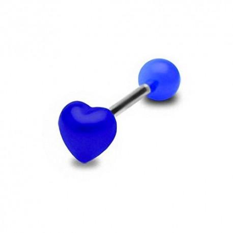 Piercing Langue coeur bleu